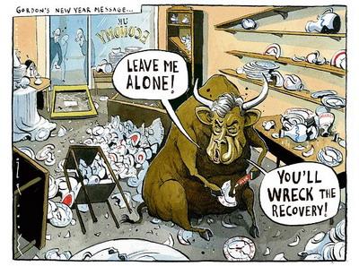 WWW_BANGBULL_COM_这幅名为a bull in   china shop的漫画,妙在不仅画得传神而且一语