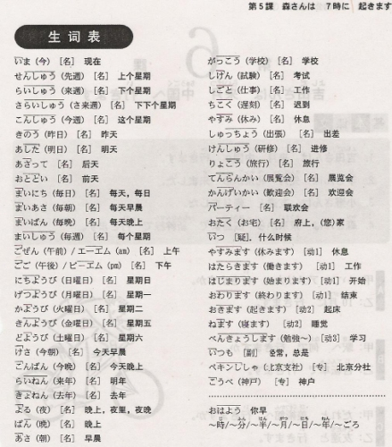 新标准日本语第五课:7点钟起床