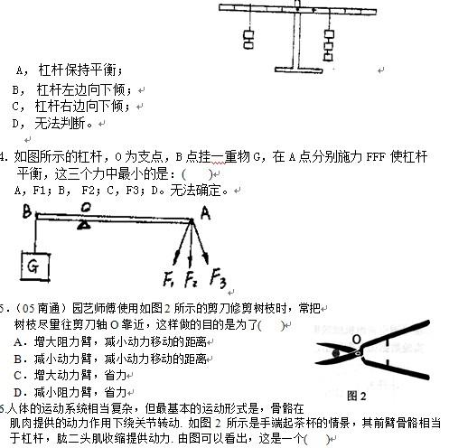 初中物理练习题:杠杆