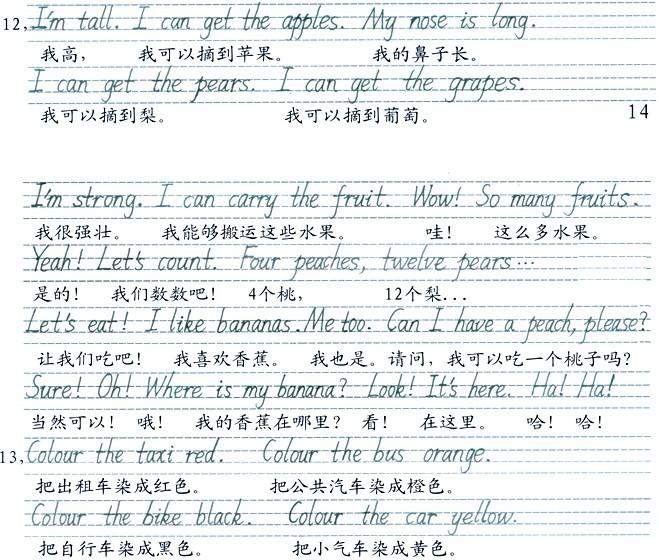 pep小学英语三年级下册手写体字帖与课文译文 unit6