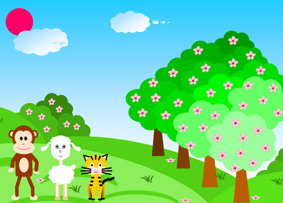 小猫和小松鼠在比赛爬树