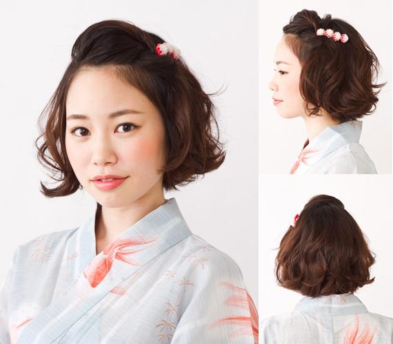 日系美发:配浴衣的可爱活泼短发发型